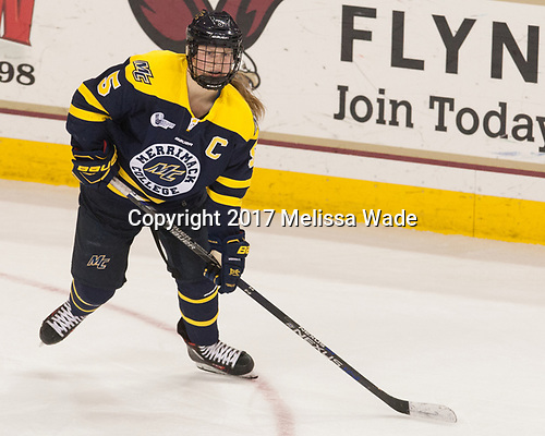 Paige Sorensen (Merrimack - 5) - The number one seeded Boston College Eagles defeated the eight seeded Merrimack College Warriors 1-0 to sweep their Hockey East quarterfinal series on Friday, February 24, 2017, at Kelley Rink in Conte Forum in Chestnut Hill, Massachusetts.The number one seeded Boston College Eagles defeated the eight seeded Merrimack College Warriors 1-0 to sweep their Hockey East quarterfinal series on Friday, February 24, 2017, at Kelley Rink in Conte Forum in Chestnut Hill, Massachusetts.