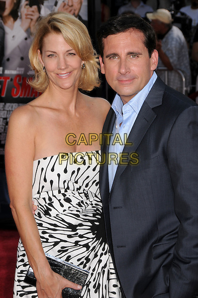 "NANCY WALLS & STEVE CARELL.""Get Smart"" Los Angeles Premiere at Mann's Village Theatre, Westwood, California, USA..June 16th, 2008.half length black white pattern strapless blue suit jacket married husband wife dress clutch bag .CAP/ADM/BP.©Byron Purvis/AdMedia/Capital Pictures."