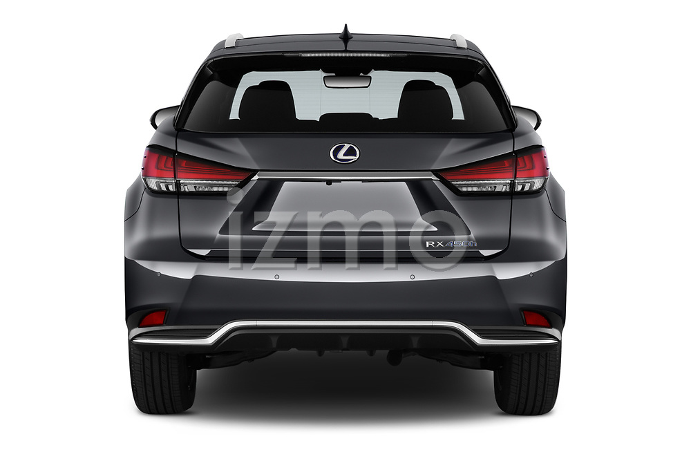 Straight rear view of a 2020 Lexus RX Hybrid 450h 5 Door SUV stock images