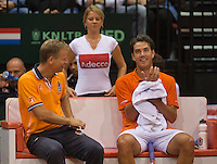 15-sept.-2013,Netherlands, Groningen,  Martini Plaza, Tennis, DavisCup Netherlands-Austria, fourth rubber,  Dutch bench with Captain Jan Siemerink and Jesse Huta Galung<br /> Photo: Henk Koster