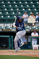 Charlotte Stone Crabs Moises Gomez (21) at bat during a Florida State League game against the Bradenton Marauders on April 10, 2019 at LECOM Park in Bradenton, Florida.  Bradenton defeated Charlotte 2-1.  (Mike Janes/Four Seam Images)