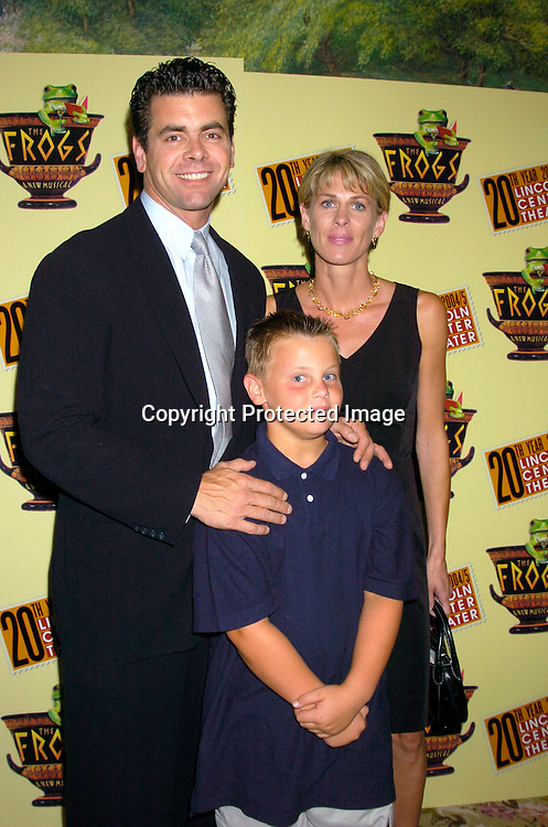 """Burke Moses and wife Paulette and son Jackson..at the opening night party for Lincoln Center's Production of ..""""The Frogs"""" on July 22, 2004 at The Tavern on the Green. ..Photo by Robin Platzer, Twin Images"""