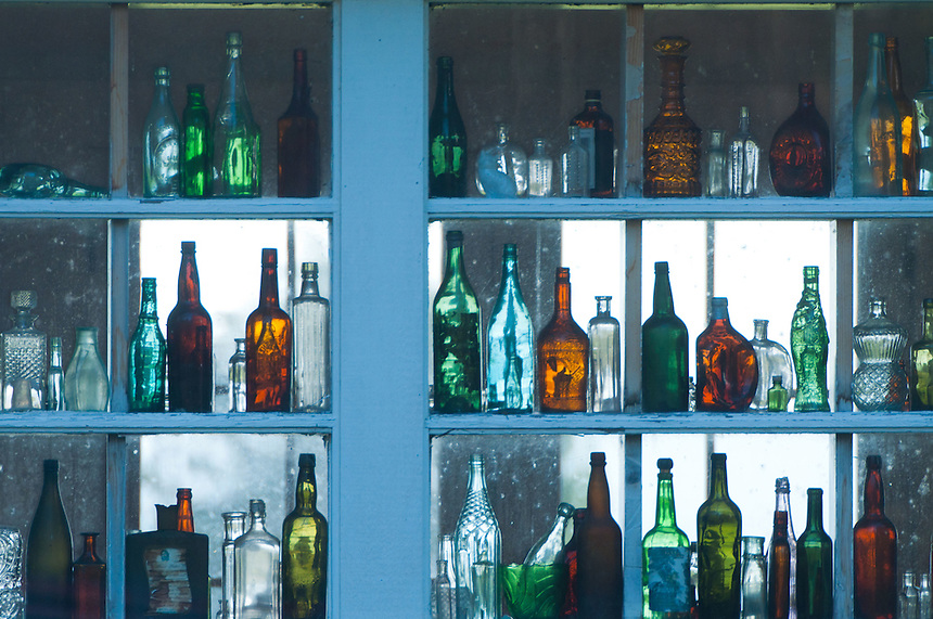 Bottles in Window of Historic Residence, Oysterville, Washington, US