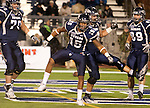 November 12, 2011:  Nevada Wolf Pack's Rishard Matthews (15) center, celebrates with his teammates after scoring a touchdown against the Hawaii Warriors during a WAC league game played at Mackay Stadium in Reno, Nevada.