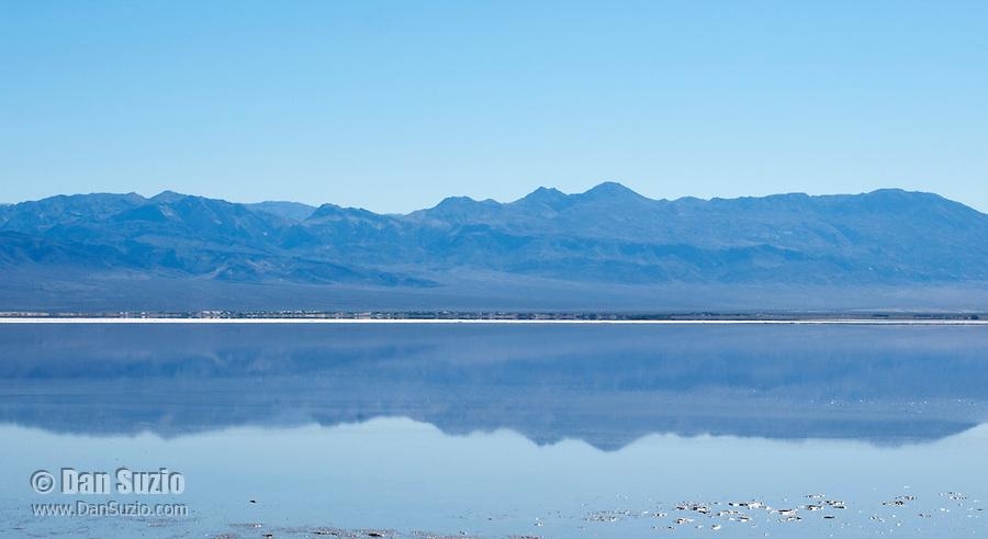 Saline Range reflected in Salt Lake. Saline Valley, Death Valley National Park, California