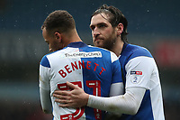 Blackburn Rovers' Elliott Bennett and Blackburn Rovers' Danny Graham<br /> <br /> Photographer Rachel Holborn/CameraSport<br /> <br /> The EFL Sky Bet League One - Blackburn Rovers v Blackpool - Saturday 10th March 2018 - Ewood Park - Blackburn<br /> <br /> World Copyright &copy; 2018 CameraSport. All rights reserved. 43 Linden Ave. Countesthorpe. Leicester. England. LE8 5PG - Tel: +44 (0) 116 277 4147 - admin@camerasport.com - www.camerasport.com
