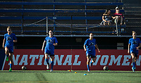 Seattle, WA - Saturday July 15, 2017: Beverly Yanez, Kiersten Dallstream, Lauren Barnes, Elli Reed during a regular season National Women's Soccer League (NWSL) match between the Seattle Reign FC and the Boston Breakers at Memorial Stadium.