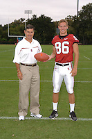 7 August 2006: Stanford Cardinal head coach Walt Harris and Kelton Lynn during Stanford Football's Team Photo Day at Stanford Football's Practice Field in Stanford, CA.