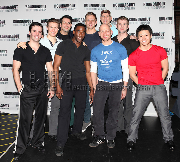 Ensemble Male cast featuring: Clyde Alves, Ward Billeisen, Josh Franklin, Justin Greer, Daniel J. Edwards, Kevin Munhall, Adam Perry, William Ryall & Anthony Wayne attending the Meet & Greet for the Roundabout Theatre Company's Production of 'Anything Goes' at Studio 54 in New York City.