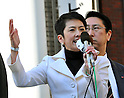 December 19, 2011, Tokyo, Japan - Renho (single name), Japans minister in charge of Administrative Reform, addresses a rally at Tokyos Shinbashi railway station on Monday, December 19, 2011. ....Renho, a TV personality-turned-politician, was booed and heckled by a group of anti-nuclear protestors, showing their disagreement with Prime Minister Yoshiko Noda, who on Friday declared that the crisis at Tokyo Electric Power Co.'s Fukushima No. 1 nuclear power plant has been brought under control. (Photo by Natsuki Sakai/AFLO) [3615] -mis-