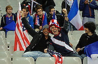 Fans of team USA celebrate on the stands during the friendly match France against USA at the Stade de France in Paris, France on November 11th, 2011.