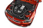 Car Stock 2015 BMW M3 4 Door Sedan Engine high angle detail view