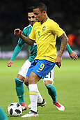 27th March 2018, Olympiastadion, Berlin, Germany; International Football Friendly, Germany versus Brazil; Gabriel Jésus (Brazil) shields the ball