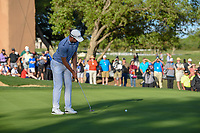 Corey Conners (CAN) watches his birdie attempt barely miss on 18 during day 4 of the Valero Texas Open, at the TPC San Antonio Oaks Course, San Antonio, Texas, USA. 4/7/2019.<br /> Picture: Golffile | Ken Murray<br /> <br /> <br /> All photo usage must carry mandatory copyright credit (© Golffile | Ken Murray)