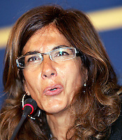 L'imprenditrice Emma Marcegaglia tiene una conferenza stampa al termine della riunione della Giunta della Confindustria che l'ha designata nuova presidente dell'associazione, a Roma, 13 marzo 2008..Italian enterpreneur Emma Marcegaglia gives a press conference at the end of the Confindustria enterpreneurs association's council that designated her as new president, in Rome, 13 march 2008..UPDATE IMAGES PRESS/Riccardo De Luca