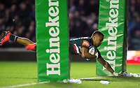 Telusa Veainu of Leicester Tigers scores his second try. European Rugby Champions Cup match, between Leicester Tigers and Castres Olympique on October 21, 2017 at Welford Road in Leicester, England. Photo by: Patrick Khachfe / JMP