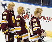 Joe Basaraba (Duluth - 18), Travis Oleksuk (Duluth - 11), Mike Montgomery (Duluth - 24) - The University of Minnesota-Duluth Bulldogs defeated the Union College Dutchmen 2-0 in their NCAA East Regional Semi-Final on Friday, March 25, 2011, at Webster Bank Arena at Harbor Yard in Bridgeport, Connecticut.