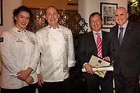 Melbourne, June 26, 2018 - Laura Skvor, Michael Cole, Tim Collett from Foodservice Australia and Tom Milligan pose for a photograph at a celebration event for Bocuse d'Or Australia team and their sponsors and supporters at Philippe Restaurant in Melbourne, Australia. Photo Sydney Low.