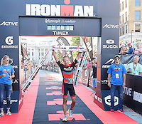 Lake Mills' Edward Schmitt wins the amateur division of the 2015 Ironman competition in 9 hours, 26 minutes, and 57 seconds on Sunday, September 13, 2015 in Madison, Wisconsin
