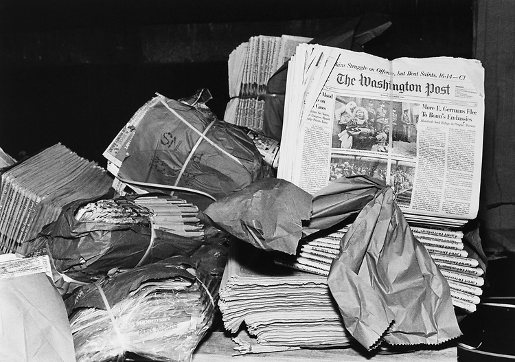 Heap of Newspaper at post district 3rd RM southwest Washington D.C. (Photo by Maureen Keating/CQ Roll Call via Getty Images)