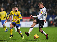 Bolton Wanderers' Josh Vela competing with Leeds United's Jamie Shackleton<br /> <br /> Photographer Andrew Kearns/CameraSport<br /> <br /> The EFL Sky Bet Championship - Bolton Wanderers v Leeds United - Saturday 15th December 2018 - University of Bolton Stadium - Bolton<br /> <br /> World Copyright &copy; 2018 CameraSport. All rights reserved. 43 Linden Ave. Countesthorpe. Leicester. England. LE8 5PG - Tel: +44 (0) 116 277 4147 - admin@camerasport.com - www.camerasport.com
