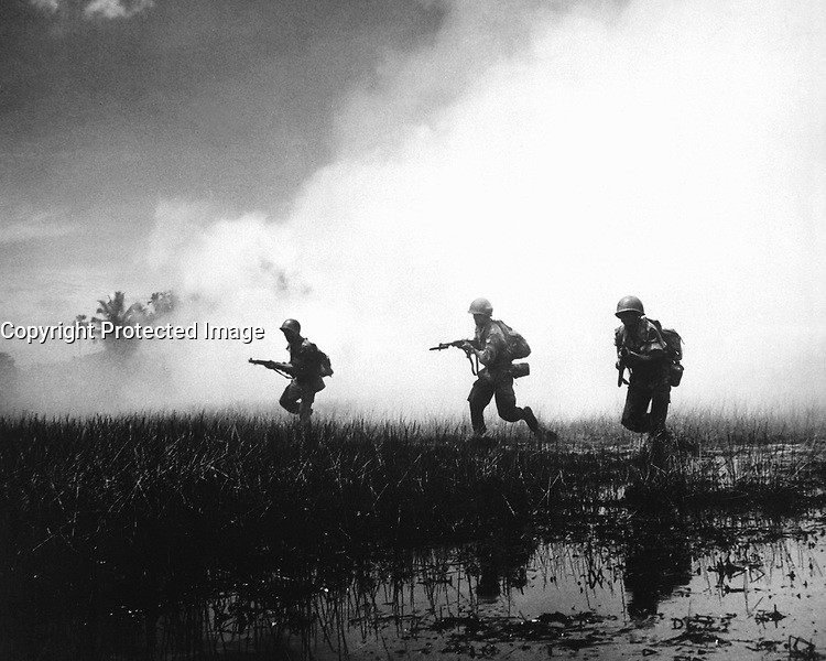 Crack troops of the Vietnamese Army in combat operations against the Communist Viet Cong guerillas.  Marshy terrain of the delta country makes their job of rooting out terrorists hazardous and extremely difficult.  1961.  (USIA)<br /> EXACT DATE SHOT UNKNOWN<br /> NARA FILE #:  306-PSC-61-9069<br /> WAR &amp; CONFLICT BOOK #:  403