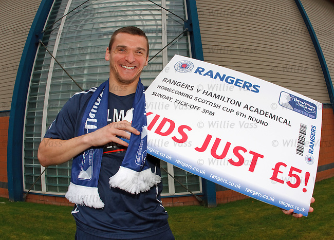 Lee McCulloch with a ticket initiative for Sunday's Scottish Cup match with Hamilton