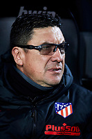 14th February 2020; Mestalla, Valencia, Spain; La Liga Football,Valencia versus Atletico Madrid; Atletico Madrid assistant coach Germán Burgos watches the players prior to the game