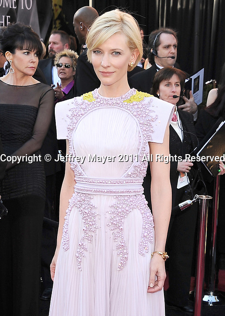 HOLLYWOOD, CA - FEBRUARY 27: Cate Blanchett arrives at the 83rd Annual Academy Awards held at the Kodak Theatre on February 27, 2011 in Hollywood, California.