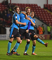 Fleetwood Town's Cian Bolger is congratulated on scoring his team's opening goal<br /> <br /> Photographer Dave Howarth/CameraSport<br /> <br /> The EFL Sky Bet League One - Walsall v Fleetwood Town - Tuesday 14th March 2017 - Banks's Stadium - Walsall<br /> <br /> World Copyright &copy; 2017 CameraSport. All rights reserved. 43 Linden Ave. Countesthorpe. Leicester. England. LE8 5PG - Tel: +44 (0) 116 277 4147 - admin@camerasport.com - www.camerasport.com