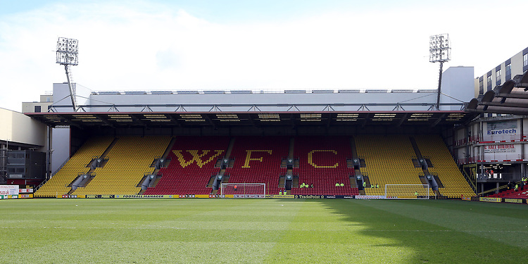Vicarage Road<br /> <br /> Photo by Rob Newell/CameraSport<br /> <br /> Football - The Football League Sky Bet Championship - Watford v Middlesbrough - Saturday 15th February 2014 - Vicarage Road - London<br /> <br /> &copy; CameraSport - 43 Linden Ave. Countesthorpe. Leicester. England. LE8 5PG - Tel: +44 (0) 116 277 4147 - admin@camerasport.com - www.camerasport.com
