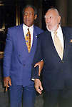 Bill Cosby with Anthony Quinn at LeCirque Restaurant on September 14, 1989 in New York City.