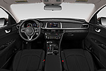 Stock photo of straight dashboard view of 2018 KIA Optima LX 4 Door Sedan Dashboard