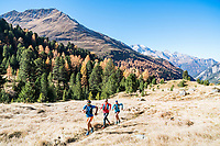 Trail running in fall colors above Berguns, Switzerland