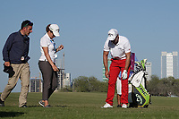 Andrea Pavan (ITA)gets ruling from Referee Gaia Zonchello  during the second round of the Commercial Bank Qatar Masters, Doha Golf Club, Doha, Qatar. 08/03/2019<br /> Picture: Golffile | Phil Inglis<br /> <br /> <br /> All photo usage must carry mandatory copyright credit (&copy; Golffile | Phil Inglis)