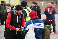 Lincoln City's Sam Habergham signs autographs for fans as he arrives at the ground<br /> <br /> Photographer Chris Vaughan/CameraSport<br /> <br /> The EFL Sky Bet League Two - Lincoln City v Notts County - Saturday 13th January 2018 - Sincil Bank - Lincoln<br /> <br /> World Copyright &copy; 2018 CameraSport. All rights reserved. 43 Linden Ave. Countesthorpe. Leicester. England. LE8 5PG - Tel: +44 (0) 116 277 4147 - admin@camerasport.com - www.camerasport.com