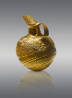 Bronze Age Hattian gold flask from Grave K, possibly a Bronze Age Royal grave (2500 BC to 2250 BC) - Alacahoyuk - Museum of Anatolian Civilisations, Ankara, Turkey. Against a gray background