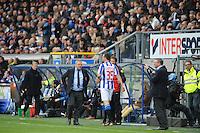 VOETBAL: HEERENVEEN: Abe Lenstra Stadion, SC Heerenveen - Feyenoord, 06-05-2012, Herman van Dijk (teammanager), Gerald Sibon (#35) maakt zich klaar om in te vallen tijdens zijn afscheidswedstrijd als prof, Ron Jans (coach), Eindstand 2-3, ©foto Martin de Jong