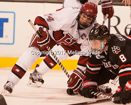 Alexander Kerfoot (Harvard - 14), Adam Gaudette (NU - 8) - The Harvard University Crimson defeated the Northeastern University Huskies 4-3 in the opening game of the 2017 Beanpot on Monday, February 6, 2017, at TD Garden in Boston, Massachusetts.