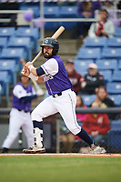 Binghamton Rumble Ponies second baseman Luis Guillorme (3) at bat during a game against the Akron RubberDucks on May 12, 2017 at NYSEG Stadium in Binghamton, New York.  Akron defeated Binghamton 5-1.  (Mike Janes/Four Seam Images)