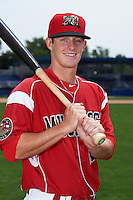 Batavia Muckdogs outfielder Brandon Rawe (22) poses for a photo on July 8, 2015 at Dwyer Stadium in Batavia, New York.  (Mike Janes/Four Seam Images)