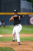 Erie SeaWolves relief pitcher Jose Valdez (37) during a game against the Bowie Baysox on May 12, 2016 at Jerry Uht Park in Erie, Pennsylvania.  Bowie defeated Erie 6-5.  (Mike Janes/Four Seam Images)