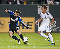 CARSON, CA – August 20, 2011: San Jose midfielder Bobby Convey (11) and LA Galaxy defender Todd Dunivant (2) during the match between LA Galaxy and San Jose Earthquakes at the Home Depot Center in Carson, California. Final score LA Galaxy 2, San Jose Earthquakes 0.