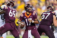 Landover, MD - SEPT 3, 2017: Virginia Tech Hokies quarterback Josh Jackson (17) drops back in the pocket during game between West Virginia and Virginia Tech at FedEx Field in Landover, MD. (Photo by Phil Peters/Media Images International)