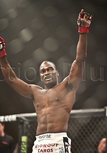 24.06.2011, Washinton, USA.  Derek Brunson after defeating Jeremy Hamilton during the STRIKEFORCE Challengers at the ShoWare Center in Kent, Washington. Brunson won by unanimous decision.