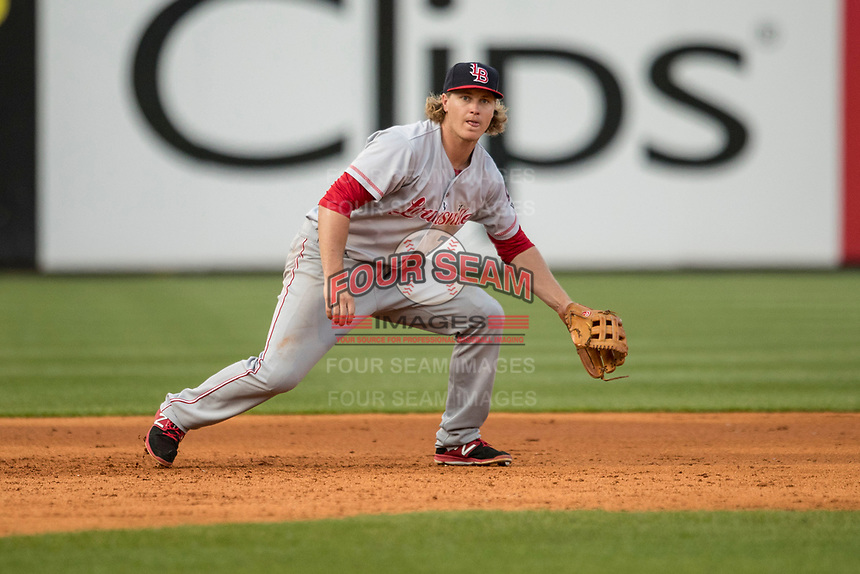 Louisville Bats third baseman Brandon Dixon (7) on defense against the Toledo Mud Hens during the International League baseball game on May 17, 2017 at Fifth Third Field in Toledo, Ohio. Toledo defeated Louisville 16-2. (Andrew Woolley/Four Seam Images)