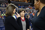 CHARLOTTESVILLE, VA - FEBRUARY 15: Notre Dame head coach Muffet McGraw and Virginia head coach Joanne Boyle (left). The University of Virginia Cavaliers hosted the University of Notre Dame Fighting Irish on February 15, 2018 at John Paul Jones Arena in Charlottesville, VA in a Division I women's college basketball game. Notre Dame won the game 83-69.