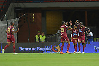 MEDELLÍN - COLOMBIA, 25-07-2018: Marco Perez (Der) de Deportes Tolima celebra después de anotar el primer gol de su equipo a Atlético Nacional durante partido por la fecha 1 de la Liga Águila II 2018 jugado en el estadio Atanasio Girardot de la ciudad de Medellín. / Marco Perez (R) player of Deportes Tolima celebrates after scoring the first goal of his team to Atletico Nacional during match for the date 1 of the Aguila League II 2018 at Atanasio Girardot stadium in Medellin city. Photo: VizzorImage/León Monsalve/Cont