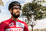 Red Jersey Nacer Bouhanni (FRA) Team Arkea-Samsic at sign on before the start of Stage 3 of the Saudi Tour 2020 running 119km from King Saud University to Al Bujairi, Saudi Arabia. 6th February 2020. <br /> Picture: ASO/Kåre Dehlie Thorstad | Cyclefile<br /> All photos usage must carry mandatory copyright credit (© Cyclefile | ASO/Kåre Dehlie Thorstad)