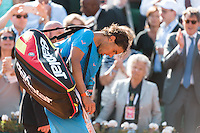 June 3, 2015: Rafael Nadal of Spain leaves the court after losing a Quarterfinal match against Novak Djokovic of Serbia on day eleven of the 2015 French Open tennis tournament at Roland Garros in Paris, France. Djokovic won 75 63 61. Sydney Low/AsteriskImages